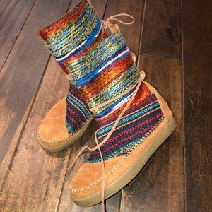 Sz 8 toms Nepal boots cognac suede textile mix